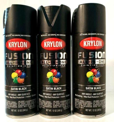 Krylon All-IN-One 2732 Satin Black Spray Paint Primer 12 Oz Cans set of 3