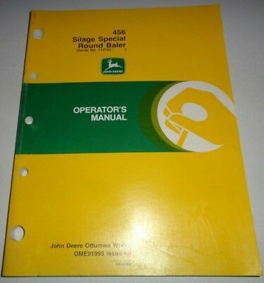 John Deere 456 Silage Special Round Baler Owner Operators Troubleshooting Manual