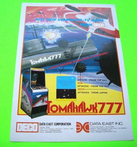 Data East TOMAHAWK 777 Original 1980 NOS Video Arcade Game Promo Sales Flyer Adv