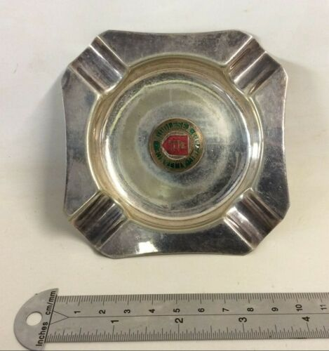 Bravingtons London Ashtray Middlesex Golfing Alliance Silver Plated Worn