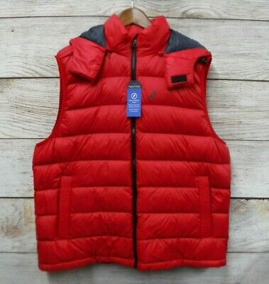 Nautica Down Puffer Vest Mens Medium Red Thin with Removable Zipped Hood New