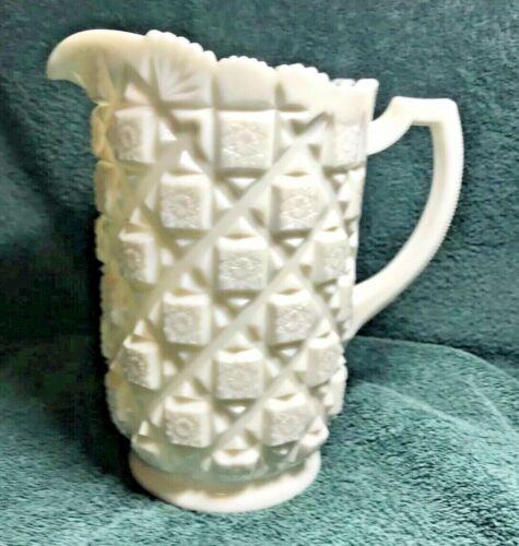 Vintage Westmoreland White Milk Glass Old Quilt Pitcher