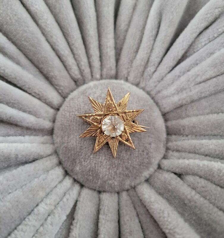 Vintage OES Order Eastern Star Gold Tone Rhinestone Star Grand Worthy Matron Pin
