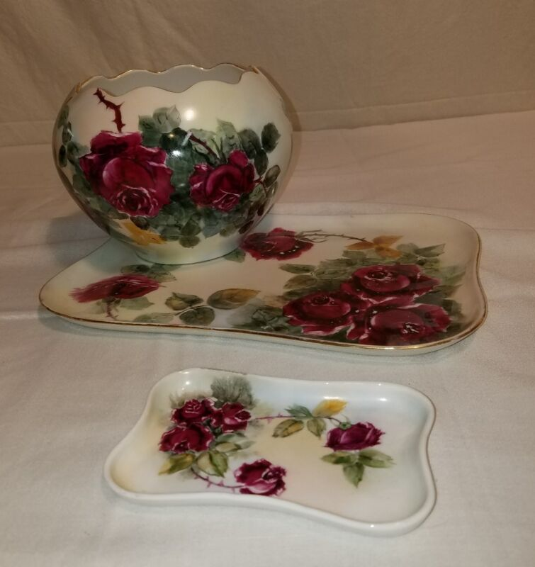 3PC VTG DRESSOR PORCELAIN HAND PAINTED SET OVER 100YRS OLD EUC