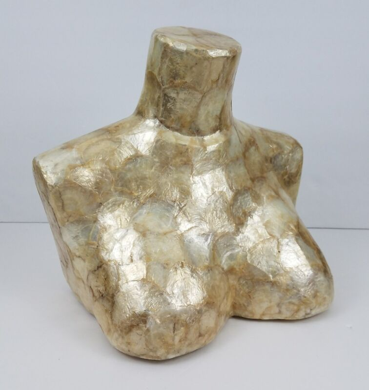 """Faux Shell Bust Jewelry Store Display Gold Color 12"""" Tall 13"""" wide"""