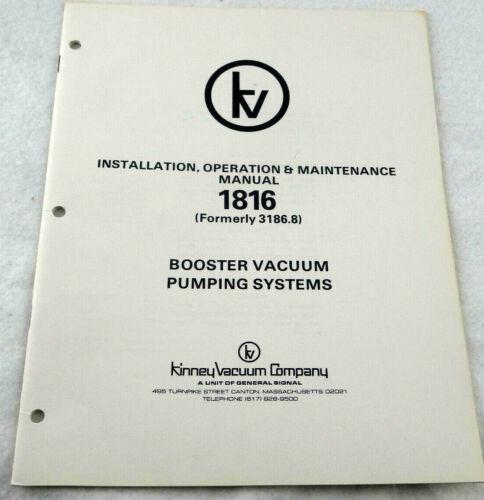 Kinney Vacuum Company 1816 Booster Vacuum Pumping Systems Manual OEM Free Ship