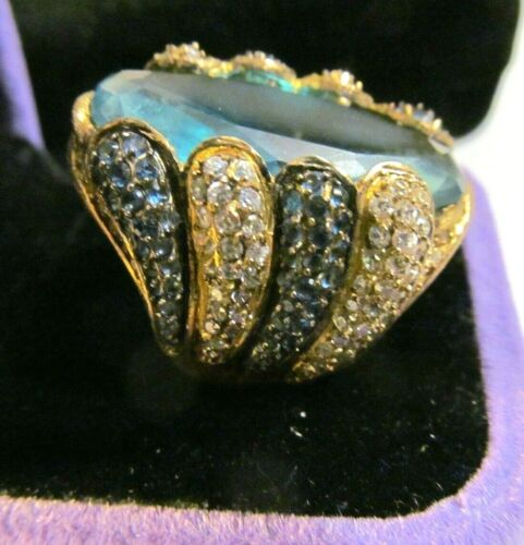 RARE HUGE VICTORIAN REVIVAL VINTAGE BLUE CLEAR STONES GOLD STERLING SILVER RING