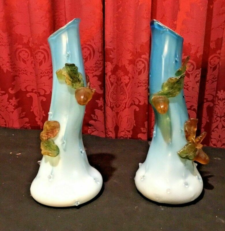 """PAIR OF ANTIQUE VICTORIAN SATIN ART GLASS 11"""" VASES WITH APPLIED DECORATION"""