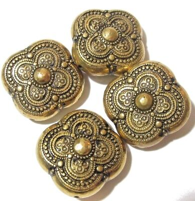 FANCY SWIRL BRASS BEADS SET OF FOUR VINTAGE ETCHED FLORAL INDIA