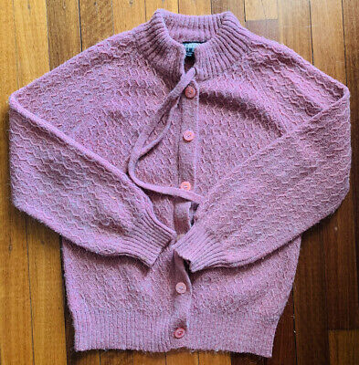 80s Sweatshirts, Sweaters, Vests | Women Vintage Cross Currents Pink Knit Cardigan Size 14 S M button up pussy bow $29.66 AT vintagedancer.com