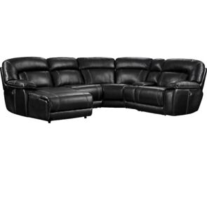 Kimba 5-Piece Leather-Look Fabric Sectional Couch