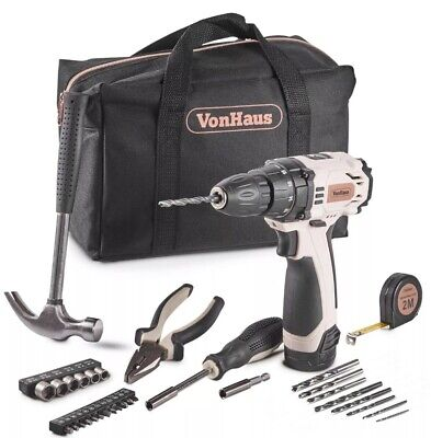 Cordless Drill Starter Kit Rose Tool Set Best Gift Women Girl GF Bday Xmas