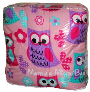 Hoot Owls Girls Pink Teal Nature Flowers Twin Full Queen