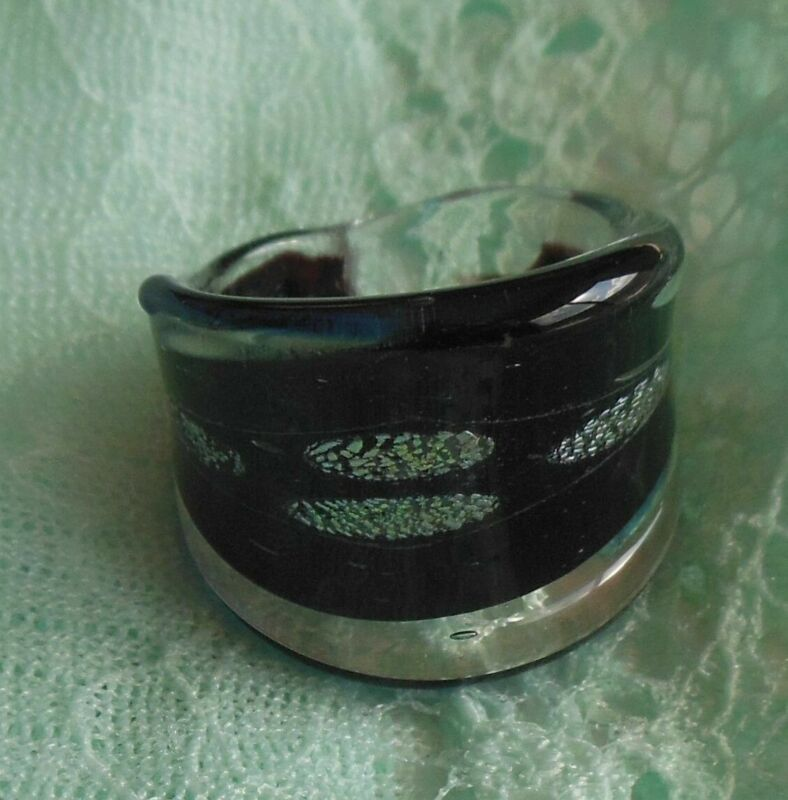 Vintage Art Deco Chunky Black, Blue, Silver Glass Ring Size 7.5