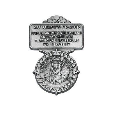 Visor Clip St Christopher Medal & Motorist Compass Points Prayer Pewter Vintage Prayer Visor Clip