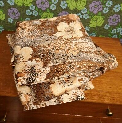 """Vintage Pair Long Lined Brown Speckled Flower Curtains 44"""" x 88"""""""