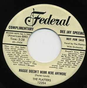 THE-PLATTERS-Maggie-Doesnt-Work-Here-Anymore-Take-Me-Back-R-B-45-RPM-RECORD