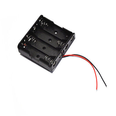 1pcs Plastic Battery Storage Case Box Holder For 4 X Aa 4xaa 2a 6.0v Wire Leads