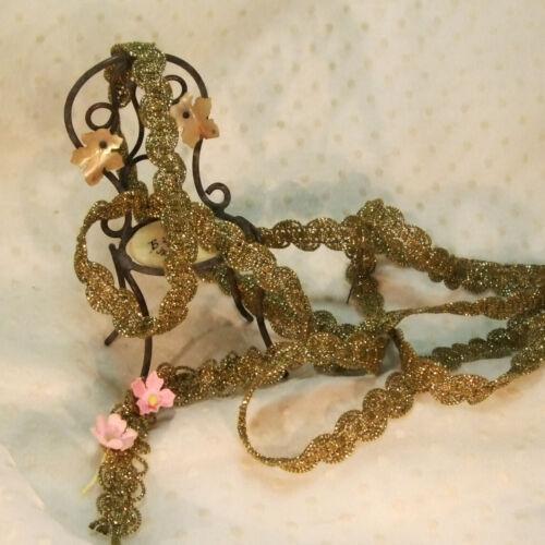 "Antique Gold Metallic lace trim for rococo ruffle ruching ruche work 1/2"" vtg"