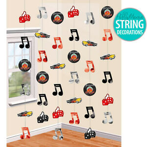 CLASSIC 50'S ROCK N ROLL MUSIC PARTY SUPPLIES HANGING STRING DECORATIONS PACK 6
