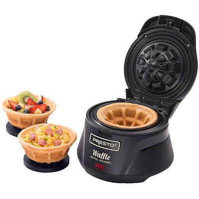 Presto Belgian Waffle Bowl Maker Kitchen Breakfast Brunch Dessert Cookware Black