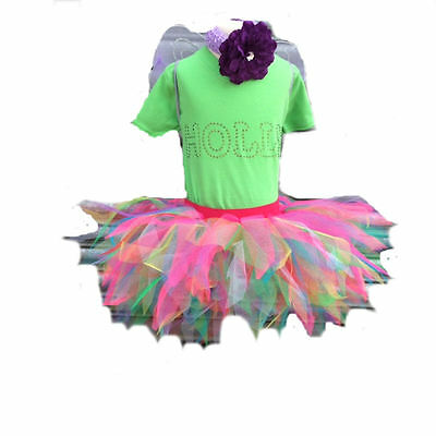 Neon Tutu Skirt 80's Fancy Dress Party Costume Sparkle Wings Baby Toddler - Toddler 80s Costume
