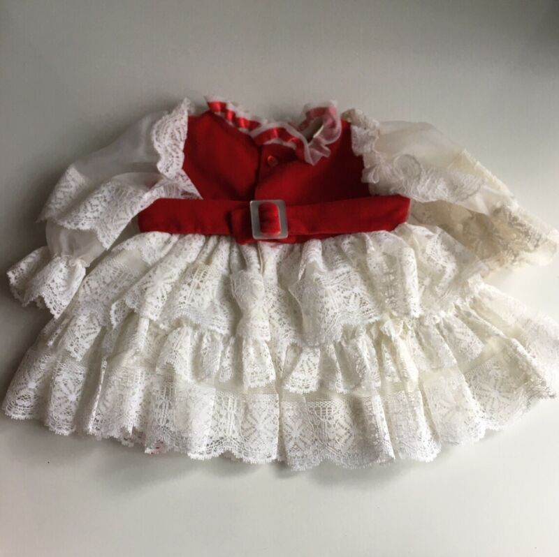 Vintage Marthas Miniatures Dress Size Small 6-9 Mos Red White We're Fussy Ruffle