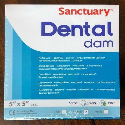 Sanctuary Dental Rubber Dam Latex 5x5 Medium Mint Green 52pk Quality Guarantee