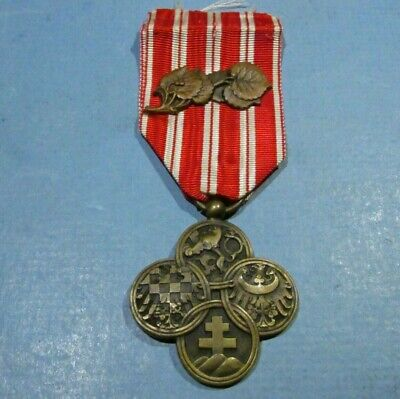 WWI CZECHOSLOVAKIA World War One Cross Leaves MILITARY COMBAT MEDAL Distinction