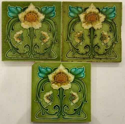 Rare art nouveau majolica tile vintage c1900 6 x 6 Inch England Antique
