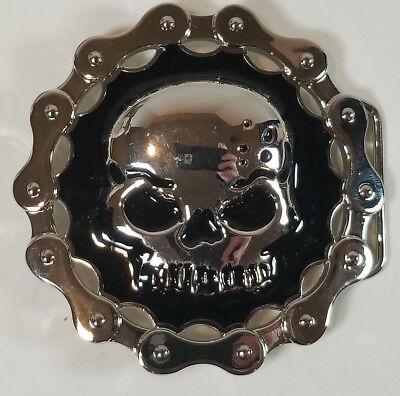 Silver SKULL Chain  Belt Buckle Bottle Opener Motorcycle Biker Black Enamel