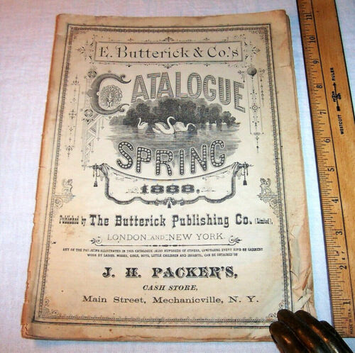 1888 Antique BUTTERICK PATTERN CATALOG Fashion Clothing Ladies Men Dolls Animals