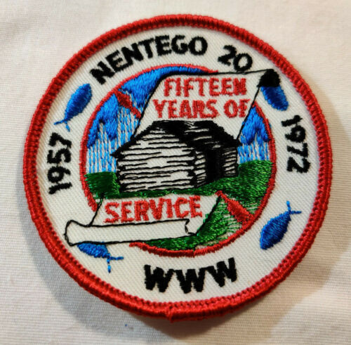 Vtg Nentego Lodge 20 1957-1972 Patch Scouts BSA Fifteen Years of Service Rare