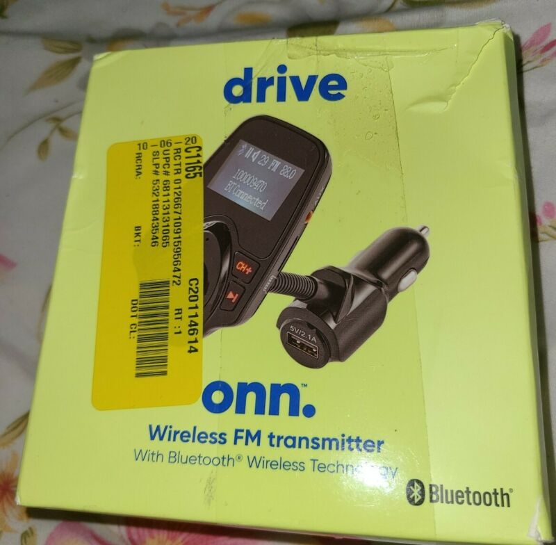 Onn 100009470  Wireless FM Bluetooth Transmitter, Black
