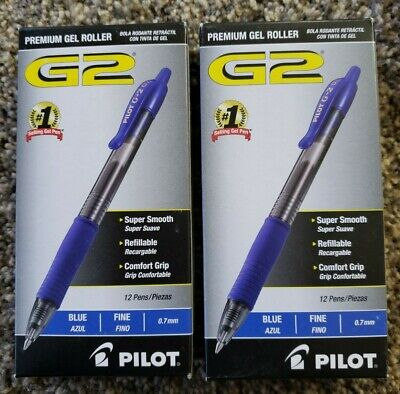 Pilot G2 Blue Fine Gel Ink Rolling Ball Pen 24pk Retractable 0.7mm 07 Archival