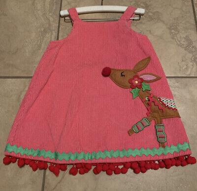 MUD PIE MUDPIE GIRL CORDUROY CORD HOT PINK JUMPER DRESS REINDEER Christmas -5T