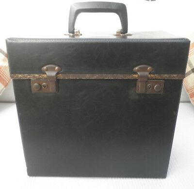 "Vintage Retro 70s Black Vinyl 12"" LP Record Storage Case Box"