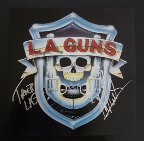 Phil & Tracii L.A. Guns Signed Autographed 12X12 Debut LP Photo 1 PSA Guaranteed