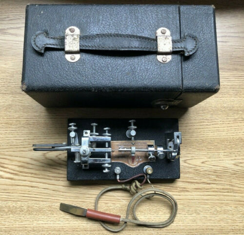 1939 Vibroplex Original Standard Telegraph Bug Key SN 139375 W/Case & Wedge Cord
