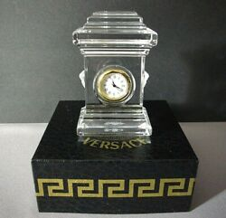 Versace Small Desk Clock Sculptured Crystal NEW Rosenthal Treasure NEW in Box