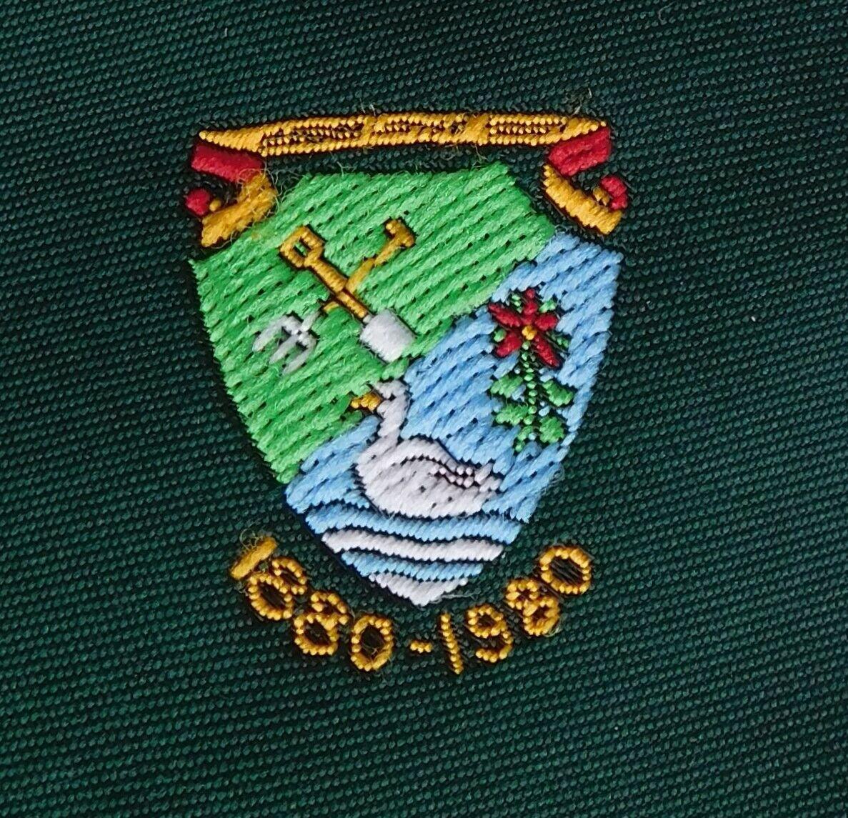 Vintage 1980 centenary tie with crest school club garden spade fork swan river