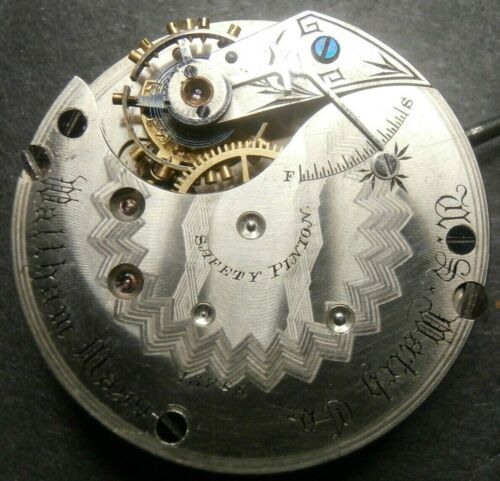 RARE Antique U.S. WATCH Co.(Waltham) 16s Micrometer Pocket Watch Movement LOT 9