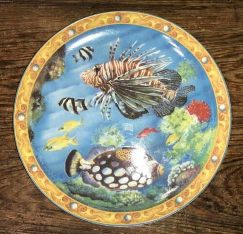 """TROPICAL FISHES SEYCHELLES BY BAUM BROS 8"""" SALAD PLATE RARE? VGUC"""