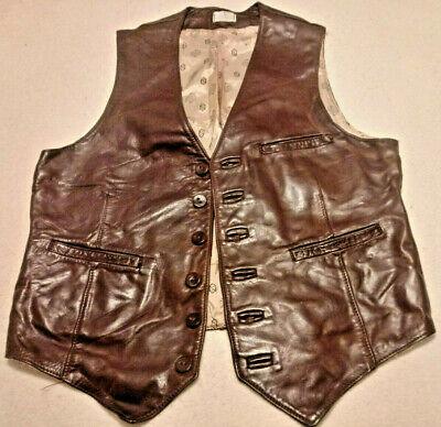 1980s Urban Fashion (Vtg Men's Leather Vest 3 Pocket Western? Biker? Cowboy? Urban? Style Large)