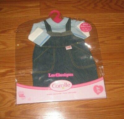 "NIP Corolle Baby Doll Les Classiques Washable Denim Overalls Set 17"" NEW"