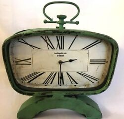 TABLE MANTEL CLOCK GREEN METAL VINTAGE LOOK Antiquite de PARIS Distress Decor