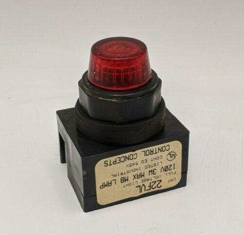 Control Concepts 22FVL Contact Block Pilot Light Red Lamp Panel Indicator 120V