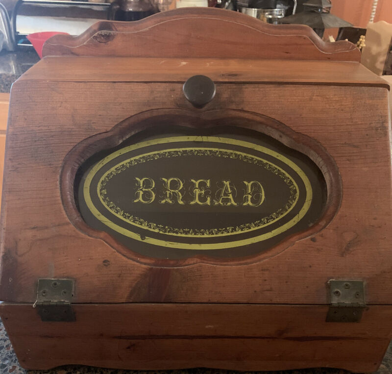 VINTAGE BREAD BOX All Wood With Beautiful Front Window Excellent Condition Retro