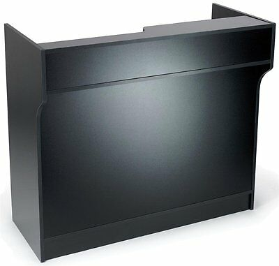 Black Melamine Register Stand Adjustable Shelves Pull-out Drawer- 4ft