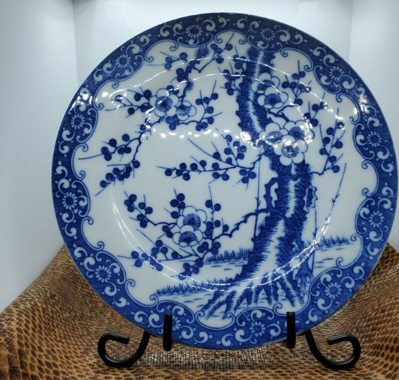 Antique Asian Blue And White Plate With Tree And Flowers